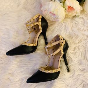 Wild Diva Strappy Spike Studded Pointy Toe Heels